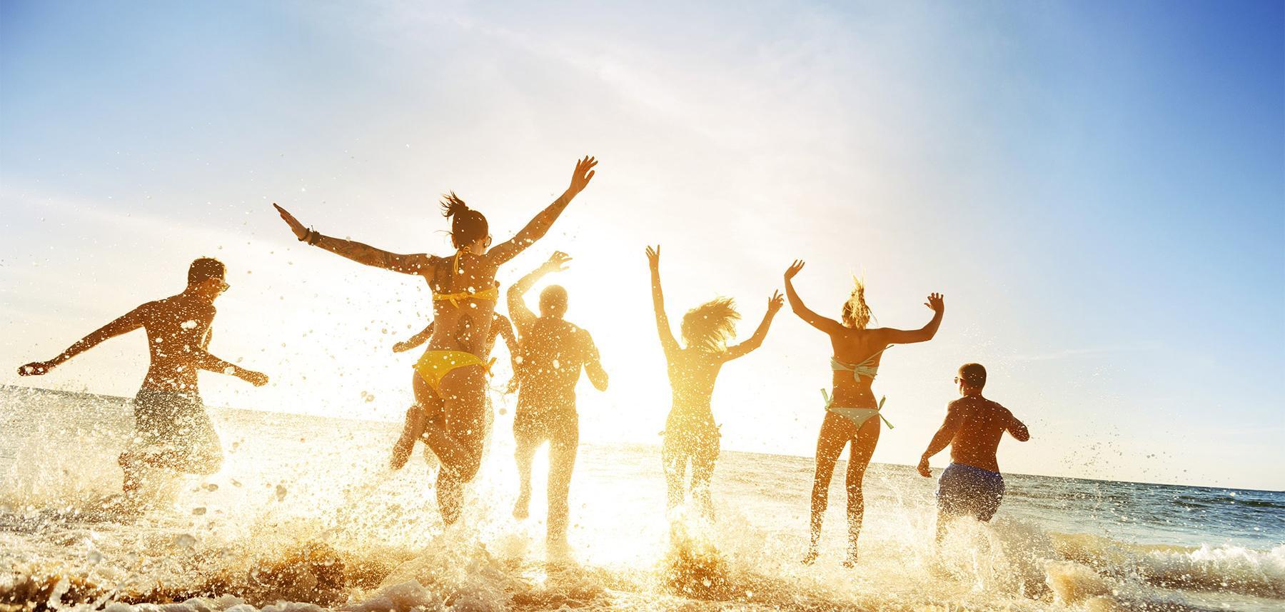 Students enjoying the ocean at Myrtle Beach